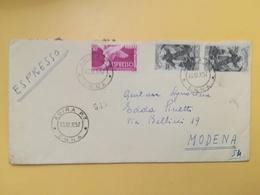 1957 BUSTA  ITALIA ITALY BOLLO ESPRESSO COLOMBA SAN FRANCESCO DI PAOLA ANNULLO ENNA - 1946-60: Marcophilia