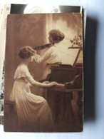 Musiek Music Musique 2 Femmes 2 Women Piano And Violin Old - Muziek En Musicus