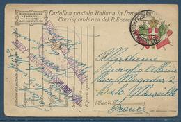 Guerre 14/18 : CP De Franchise Militaire Italienne Obl. 9.5.1918 + Griffe 1833e Compagnie De Mitrailleurs Lewis - Storia Postale