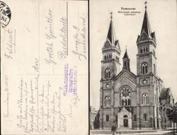Timisoara, Fabric, Biserica Millenium (Piaţa Romanilor) R.K. Milleniums Kirche, Feldpost-Felülvizsgálva-Überprüft 1913 - Rumänien