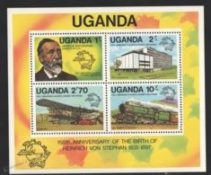 Ouganda - Uganda 1981 Yvert BF 25, 150th Ann. Birth Heinrich Von Stephan, UPU - Miniature Sheet - MNH - Uganda (1962-...)