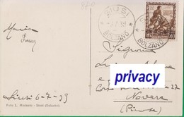Cent. 10 Su Cartolina. SIUSI. Hotel Salego. Alpi.  870 - 1900-44 Vittorio Emanuele III