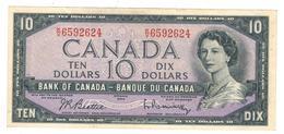 CANADA $10 Dollars Bank Note 1954 Beattie-Rasminsky , XF. - Canada