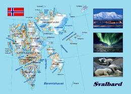Svalbard Islands Map New Postcard Spitzbergen Landkarte AK - Norvège