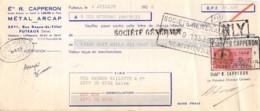 11-1122    1956  ETS R. CAPPERON A PUTEAUX - SOCIETE BRUNON VALLETTE A RIVE DE GIER - Lettres De Change