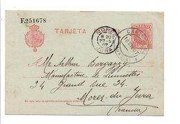 ESPAGNE CARTE DE CARTAGENA POUR MOREZ DU JURA 1907 - Marcophilie - EMA (Empreintes Machines)