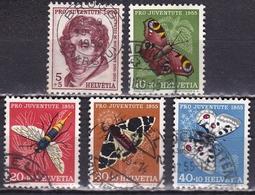 Switzerland / Schweiz / Suisse : 1955 Pro Juventute : Insekten / Schmetterlinge Gestempelter Satz  Michel 618 / 622 - Pro Juventute