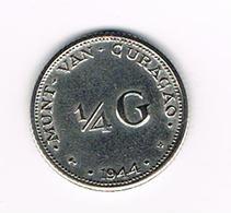 //  NEDERLANDSE ANTILLEN   1/4  GULDEN  1944 D WILHELMINA  ZILVER - Antilles Neérlandaises