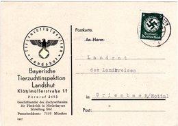 DR 1942, 6 Pf. Dienst Auf Karte D. Tierzuchtinspektion Landshut - Deutschland