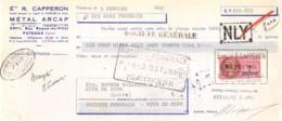 17-0075    1958    ETS R. CEPPERON METAL ARCAP A PUTEAUX - ETS BRUNON VALETTE A RIVE DE GIER - Wechsel