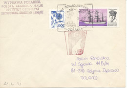 Poland Cover With Special Postmark Oceania And Spitsbergen 1991 - Other