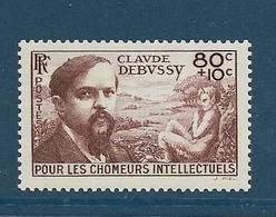 Timbres Neufs ** France, N°437 Yt, Chômeurs Intellectuels, Debussy, Musique - Neufs