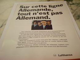 ANCIENNE PUBLICITE LIGNE ALLEMANDE  AVEC LUFTHANSA 1966 - Advertisements