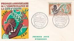 Premier Jour D'émission Enveloppe FDC COTE D'IVOIRE, 1 Anniversaire De La Déclaration D'indépendance Abidjan 7 Août 61 - Côte D'Ivoire (1960-...)