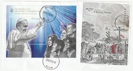 Polen 2016 2 Blöcke Auf Fragment, Michel Block 249 O World Youth Days 2016 Krakau, Sheet 1050 Christen Christendom - Used Stamps