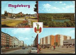 Postcard AK Germany Architecture Magdeburg Hyparschale Karl-Marx-Strasse Julius-Bremer-Strasse Posted 1990 - Magdeburg