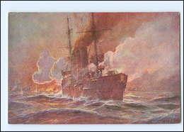 Y12070/ Kolonialkriegerdank AK Kreuzer Emden Beschießung Von  Madras  W.Stöwer - Guerra