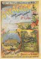 AFFICHE SUR CARTE--ARCACHON--chemins De Fer D'orléans Et Du Midi--voir 2 Scans - Non Classés