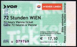 AUSTRIA - 72 HOURS VIENNA TICKET - WIENER LILIEN - BUS / TRAM / SUBWAYS - Bus