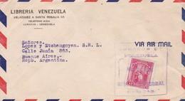 1948 VENEZUELA COMMERCIAL COVER-LIBRERIA VENEZUELA. CIRCULEE TO BUENOS AIRES ARGENTINE- BLEUP - Venezuela