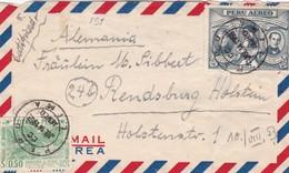 1953 PERU AIRMAIL COVER CIRCULEE TO GERMANY, REGISTERED- BLEUP - Pérou