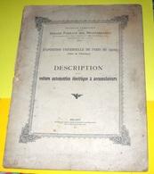 VOITURE AUTOMOTRICE ELECTRIQUE. EXPO PARIS 1900 MILANO STRADE FERRATE ITALIE - Books, Magazines, Comics