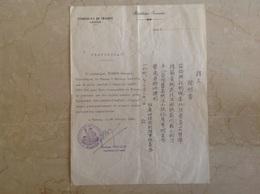 Consulat De France à Canton Signé Thiercy Vice Consul - Marcophilie (Lettres)