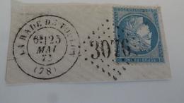 Gros Chiffre De La Rade De Toulon, TB  Sur Fragment, - 1871-1875 Cérès