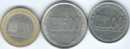Venezuela - 100 (2004 - KMY83) 500 (2004 - KMY94) & 1000 Bolivares (2005 - KMY85) - Venezuela