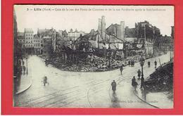 LILLE RUINES DE LA GUERRE 1914 1918 WWI RUE DES PONTS DE COMINES ET RUE FAIDHERBE CARTE EN TRES BON ETAT - Lille