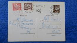 Entier Postal Petain Mars 1942 De Paris Taxe 80 Ct Pour Meillant Cher - Cartes Postales Types Et TSC (avant 1995)