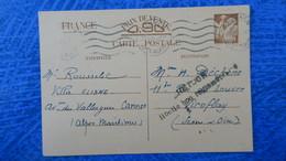 Entier Postal Iris Mars 1941 De Cannes Pour Viroflay Griffe Retour Libellé Non Réglementaire - Postwaardestukken