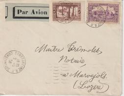 Algérie Lettre Par Avion 1938 Constantine Pour La France Lozère Au Verso Oblit. Marseille Gare Avion - Lettres & Documents