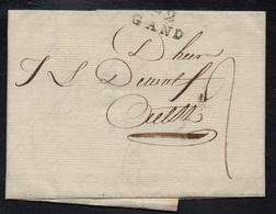 """DEPARTEMENTS CONQUIS - ESCAUT / 1801 """"92 / GAND"""" EN NOIR SUR LAC - """"2"""" SOULIGNE (ref 5552c) - 1792-1815: Conquered Departments"""