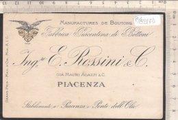 PO8217D# BIGLIETTO CARTONCINO VISITAFABBRICA BOTTONI ROSSINI & C. PONTE DELL'OLIO PIACENZA 1912 - Cartoncini Da Visita