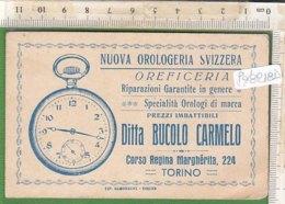 PO8218D# BIGLIETTO CARTONCINO VISITA OROLOGERIA SVIZZERA BUCOLO TORINO - OROLOGI - Cartoncini Da Visita