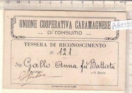 PO8239D# TESSERA UNIONE COOPERATIVA CARAMAGNESE DI CONSUMO - CARAMAGNA - Vecchi Documenti