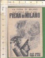 PO8241D# TESSERA XX FIERA DI MILANO 1939 - Vecchi Documenti