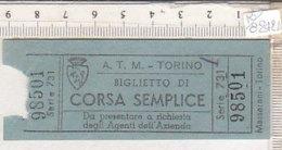 PO8242D# BIGLIETTO CORSA SEMPLICE  A.T.M. TRAMWAY TORINO Ed.Massarani - Tram