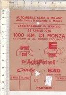PO8250D# AUTOMOBILISMO -LASCIAPASSARE AUTODROMO DI MONZA -1000 KM. DI MONZA 1985 - RACING SPORTS CARS - Automobilismo - F1