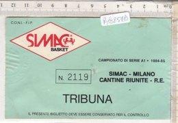 PO8254D# BIGLIETTO CAMPIONATO SERIE A1 1984-85 SIMAC-MILANO - PALLACANESTRO BASKET - Sport