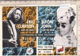PO8259D# BIGLIETTO CONCERTO ERIC CLAPTON And ELTON JOHN - HIPPODROME DE PARIS VINCENNES 1992 - Concert Tickets