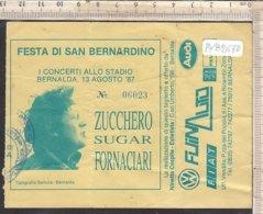 PO8267D# BIGLIETTO CONCERTO ZUCCHERO SUGAR FORNACIARI - FESTA DI SAN BERNARDINO STADIO BERNALDA - MATERA 1987 - Concerttickets