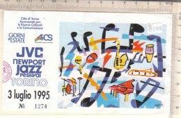 PO8344D# BIGLIETTO CONCERTO JVC NEWPORT JAZZ FESTIVAL TORINO 1995 - ILLUSTRATORE NESPOLO - Concerttickets