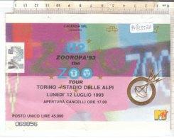 PO8357D# BIGLIETTO CONCERTO U2 CONCERT TICKET - ZOOROPA TOUR - TORINO STADIO DELLE ALPI 1983 - Concert Tickets