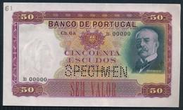 °°° SPECIMEN PORTUGAL - 50 ESCUDOS 1941 AUNC °°° - Portogallo