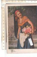 PO8577D# ILLUSTRATORI SUESS JOSEF - RAGAZZA CON FIORI - GIRL FILLETTE  VG 1920 ANNULLO A TARGHETTA - Suess, Josef