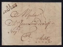 """DEPARTEMENTS CONQUIS - LA LYS / 1799 """"91 / BRUGES"""" EN NOIR SUR LAC - 28 Mm (ref 5552e) - 1792-1815: Conquered Departments"""