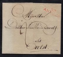 """DEPARTEMENTS CONQUIS - LES DEUX NETHES / 1801 """"93 / ANVERS"""" EN ROUGE SUR LAC - 32*9 Mm (ref 5552f) - Marcofilia (sobres)"""