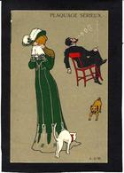 CPA Bouledogue Français French Bulldog Chat Cat Non Circulé Art Nouveau Femme Girl Women - Cani